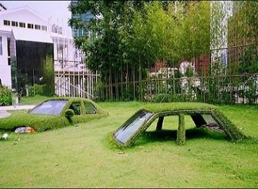 Automobiliai, paskendę žolėje