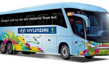 """Pasaulio futbolo čempionato dalyvius veš """"Hyundai"""" autobusai"""