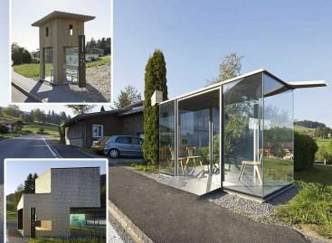 Įžymių architektų projektuotos autobusų stotelės – Austrijos kaime