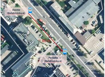 Vilniuje perkeliama Statybininkų viešojo transporto stotelė