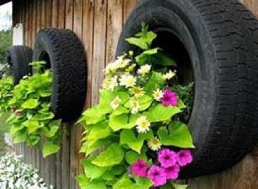 Gėlių darželiai – iš senų padangų