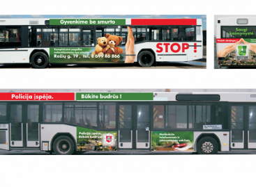 Į Panevėžio gatves išriedės autobusas su policijos prevencine reklama