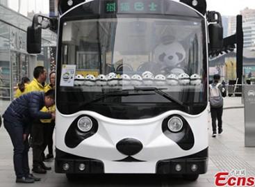 """Kinijos gatvėse – autobusas """"panda"""""""