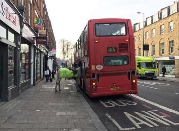 Londone į autobusą pabandė įlipti policijos arklys