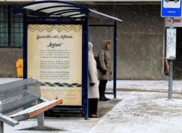 Šiaulių miesto autobusų stotelėse vietoje reklamų – eilės Lietuvai