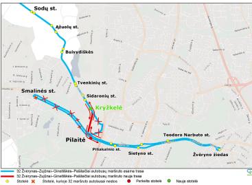 Vilniuje nuo šeštadienio keisis 32 autobusų maršruto trasa