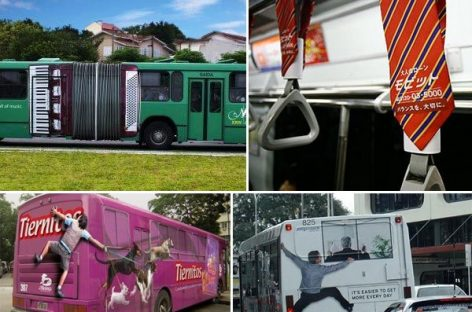 Originalios reklamos ant autobusų