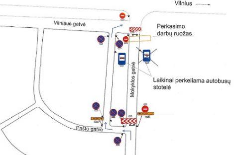Mokyklos g. Grigiškėse – laikini eismo ribojimai, keisis 28, 29 ir 59 maršrutų autobusų trasos