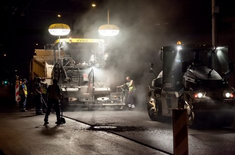 Antakalnio gatvėje Vilniuje vyks naktiniai asfaltavimo darbai
