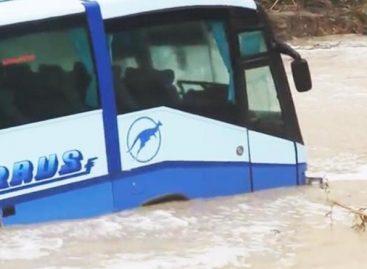 Novorosijske liūtis autobusą nunešė į jūrą (video)