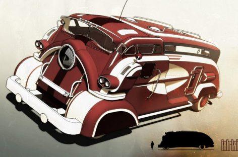 Kaip praeities dailininkai įsivaizdavo šiuolaikinius autobusus?