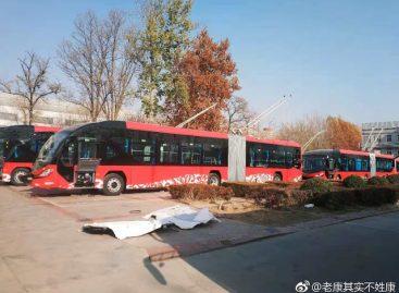 Troleibusų eismas – Kinijos mieste Baodine