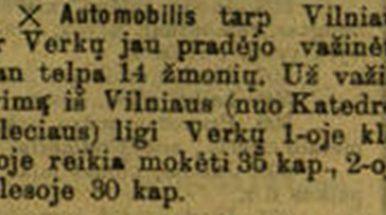 """Sukanka 110 metų, kai Vilniuje pradėjo važinėti autobusas maršrutu """"Katedros aikštė-Verkiai"""""""