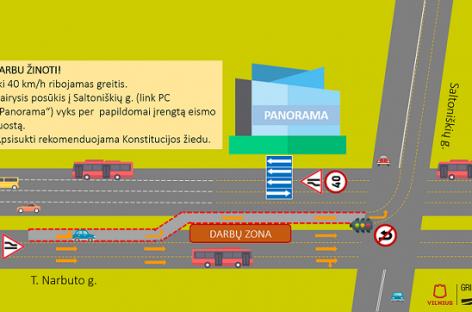 Vilniuje laikinai keičiasi eismo organizavimas T. Narbuto gatvėje
