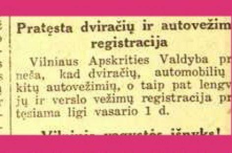 Istoriniai faktai: Lietuvai atgavus Vilnių, imtos registruoti transporto priemonės