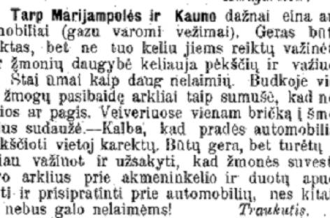 Keleivių vežimas Užnemunėje 1909-aisiais: pasibaidę arkliai ir reikalavimas važinėti lėčiau
