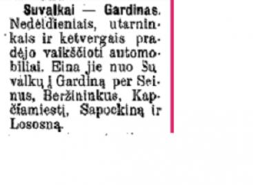 1913-aisiais – pirmasis autobusas tarp Suvalkų ir Gardino