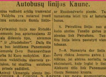 Kokiais maršrutais autobusai važinėjo Kaune 1929-aisiais?