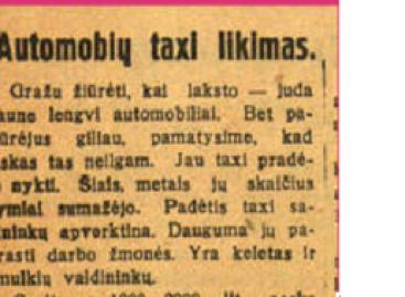 Taksi automobiliai Kaune 1930-aisiais: gatvės gadino mašinas