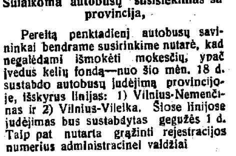 Prieš 90 metų sustabdytas autobusų susisiekimas tarp Vilniaus ir provincijos