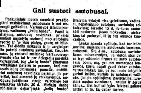 Lenkijoje jau 1931-aisiais reguliuota konkurencija tarp autobusų ir geležinkelių