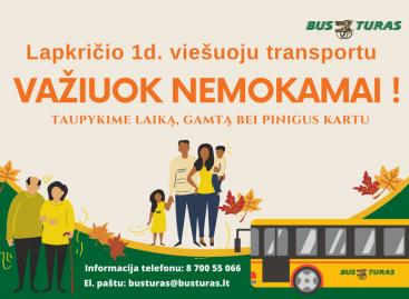 Lapkričio 1 d. šiauliečiai viešuoju transportu galės važiuoti nemokamai